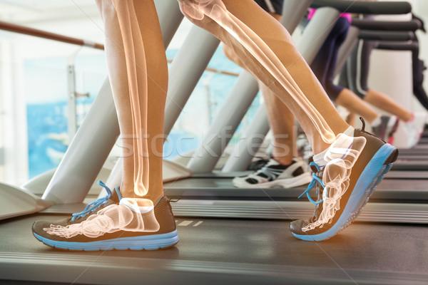 Csontok férfi futópad digitális kompozit nő sport Stock fotó © wavebreak_media