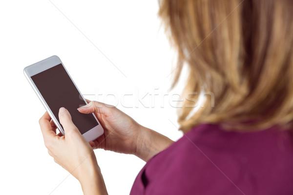 Nő küldés szöveges üzenet fehér kaukázusi barna hajú Stock fotó © wavebreak_media