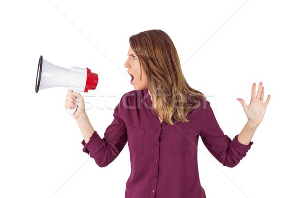 Güzel kadın megafon beyaz kadın konuşmacı Stok fotoğraf © wavebreak_media