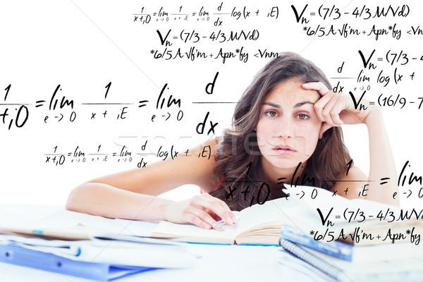 összetett kép unatkozik diák házi feladat matematika Stock fotó © wavebreak_media