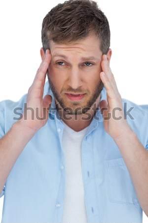 Giovani imprenditore mal di testa grigio testa shirt Foto d'archivio © wavebreak_media