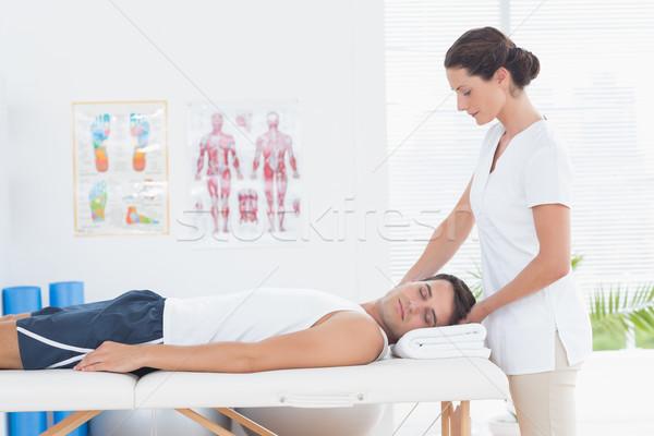 Férfi nyak masszázs orvosi iroda nő Stock fotó © wavebreak_media
