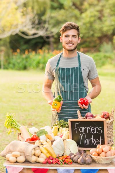 élégant agriculteur poivrons table Photo stock © wavebreak_media