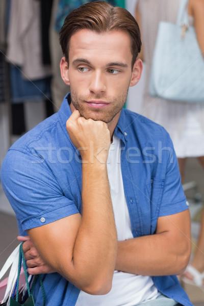 Stockfoto: Vervelen · man · hand · kin · kleding · store