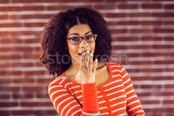 Atrakcyjny młoda kobieta portret czerwony cegły Zdjęcia stock © wavebreak_media