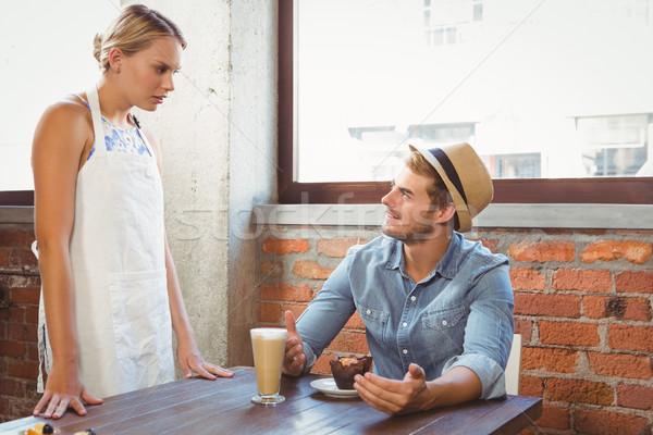 Yakışıklı konuşma garson kahvehane Stok fotoğraf © wavebreak_media