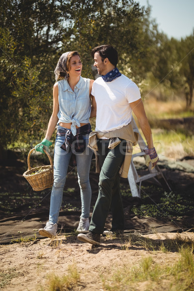 Smiling young couple walking at olive farm Stock photo © wavebreak_media