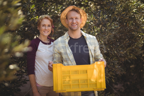 Portrait of happy man holding crate with woman at olive farm Stock photo © wavebreak_media