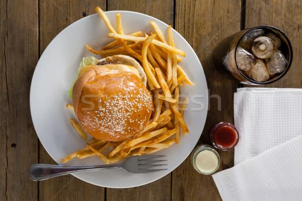 Snack bevanda fredda tavolo in legno alimentare ghiaccio piatto Foto d'archivio © wavebreak_media