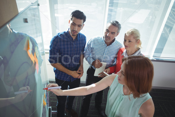 High angle view of businesswoman explaining to colleagues over whiteboard Stock photo © wavebreak_media