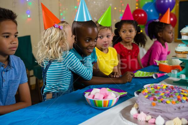 Menina menino tabela festa de aniversário comida Foto stock © wavebreak_media