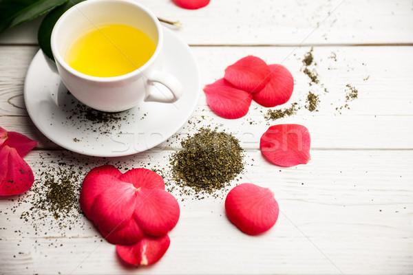 Csésze gyógynövény tea asztal lövés stúdió levél Stock fotó © wavebreak_media