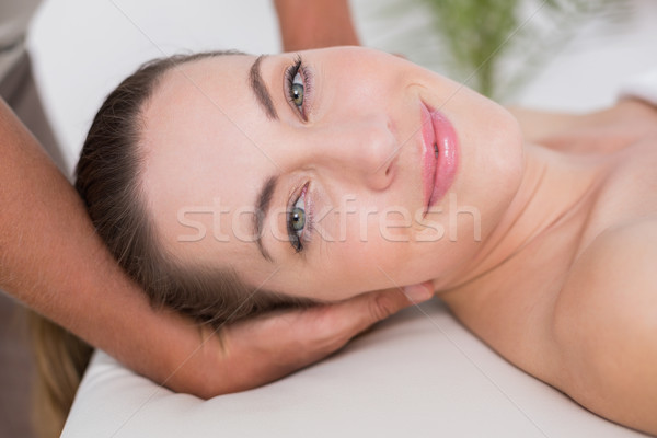 Gülümseyen kadın boyun masaj tıbbi ofis adam Stok fotoğraf © wavebreak_media