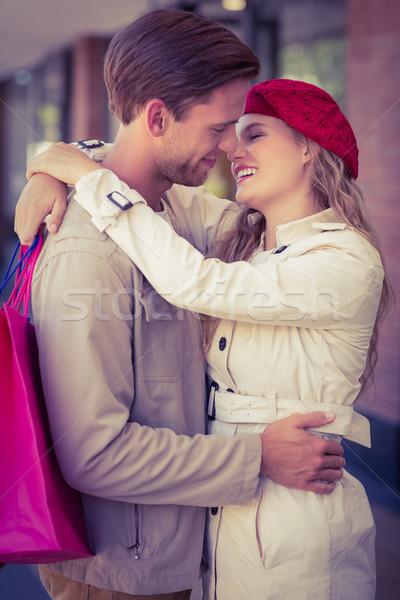 Mutlu gülen çift öpücük alışveriş merkezi kadın Stok fotoğraf © wavebreak_media