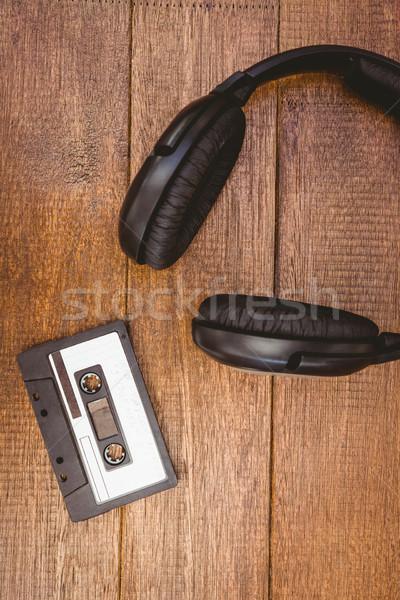 Ansicht alten Band Kopfhörer Holz Stock foto © wavebreak_media