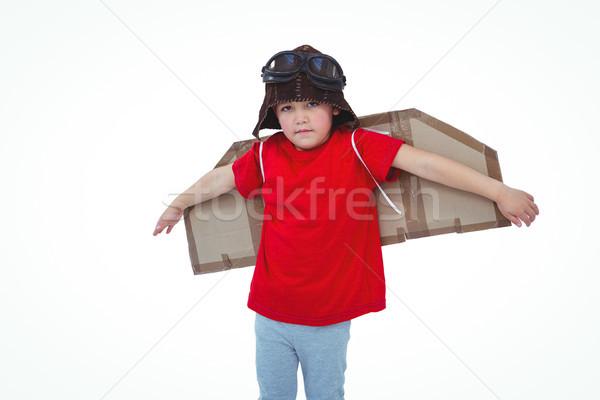 мальчика экспериментального белый экране бумаги ребенка Сток-фото © wavebreak_media