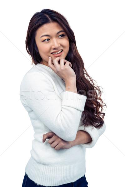 улыбаясь азиатских женщину стороны подбородок белый Сток-фото © wavebreak_media