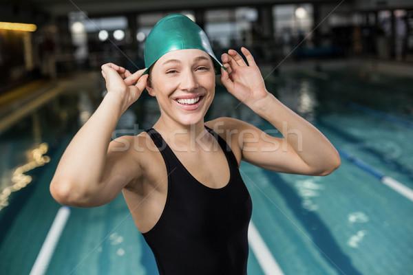 Pretty woman cap basen kobieta wody Zdjęcia stock © wavebreak_media