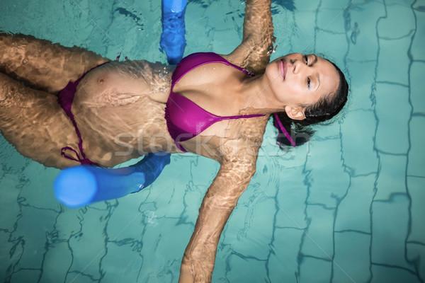 Hamile kadın köpük su mutlu sağlık spor salonu Stok fotoğraf © wavebreak_media