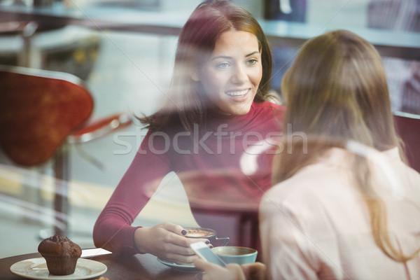 довольно друзей кофе кафе связи Сток-фото © wavebreak_media