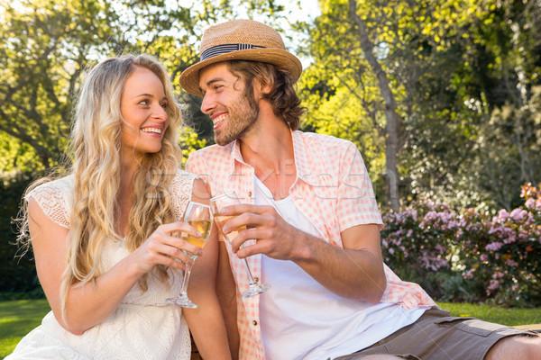 Gelukkig paar picknick drinken champagne tuin Stockfoto © wavebreak_media