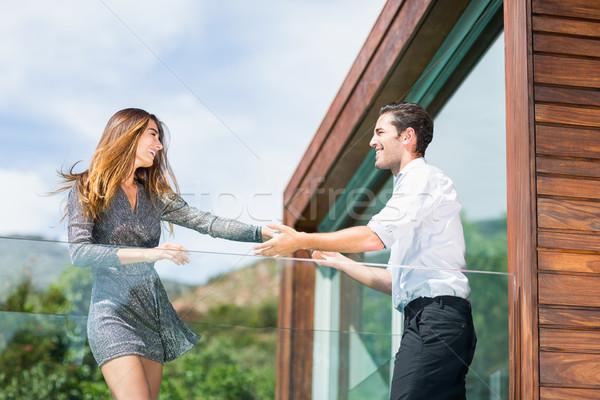 Mutlu dans balkon başvurmak Stok fotoğraf © wavebreak_media