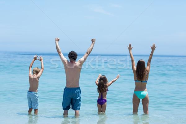 Család áll karok a magasban sekély víz hátsó nézet Stock fotó © wavebreak_media