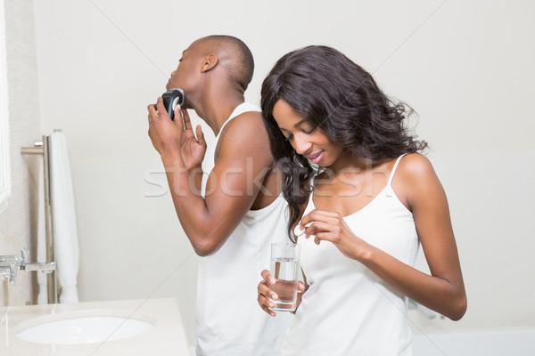 美人 ピル ガラス 水 若い男 女性 ストックフォト © wavebreak_media
