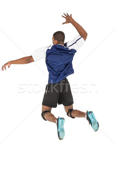 Stockfoto: Achteraanzicht · poseren · spelen · volleybal · witte