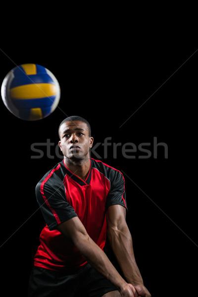 спортсмен играет волейбол черный фитнес мяча Сток-фото © wavebreak_media