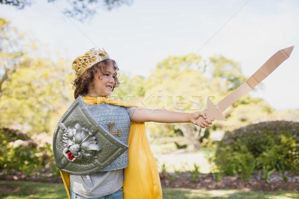 Profiel jongen dressing omhoog ridder Stockfoto © wavebreak_media