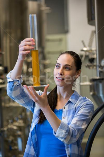 Vrouwelijke cilinder mooie brouwerij fabriek Stockfoto © wavebreak_media