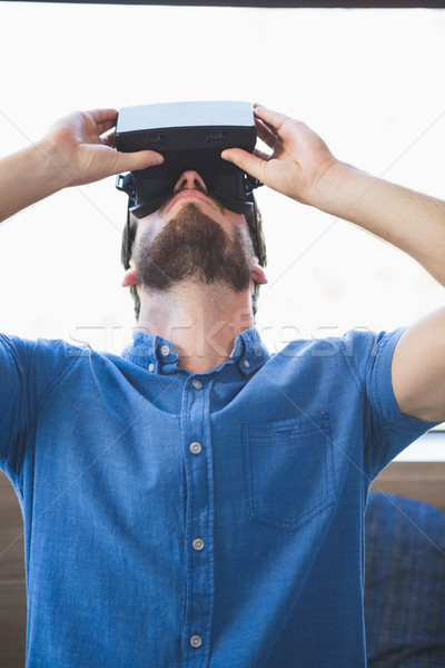Close-up of man using virtual reality glasses Stock photo © wavebreak_media