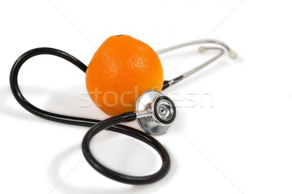 Stock fotó: Sztetoszkóp · narancs · fehér · közelkép · orvosi · gyümölcs