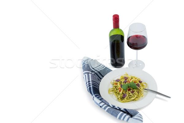 パスタ 務め プレート ワイングラス パターン ケア ストックフォト © wavebreak_media
