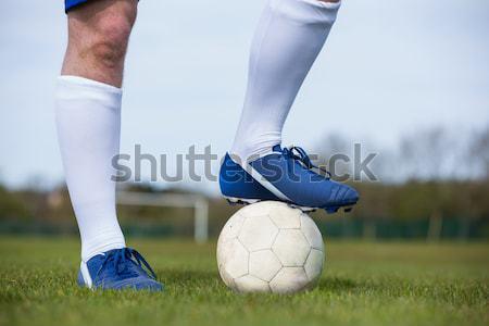 Stock fotó: Jóképű · futballista · digitálisan · generált · zászló · fű