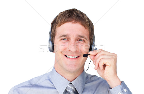 Positivo auricolare bianco business sorriso telefono Foto d'archivio © wavebreak_media