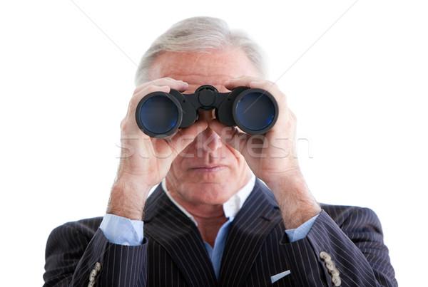深刻 ビジネスマン 見える 双眼鏡 立って 白 ストックフォト © wavebreak_media
