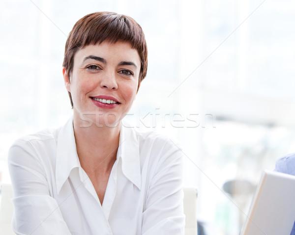 Zakenvrouw werk portret gelukkig uitvoerende werknemer Stockfoto © wavebreak_media