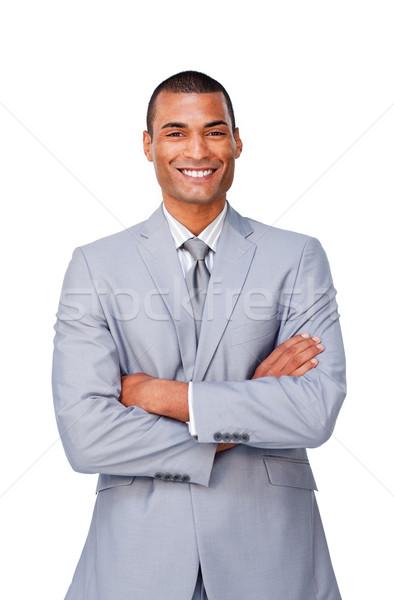 привлекательный бизнесмен сложенный оружия изолированный белый Сток-фото © wavebreak_media