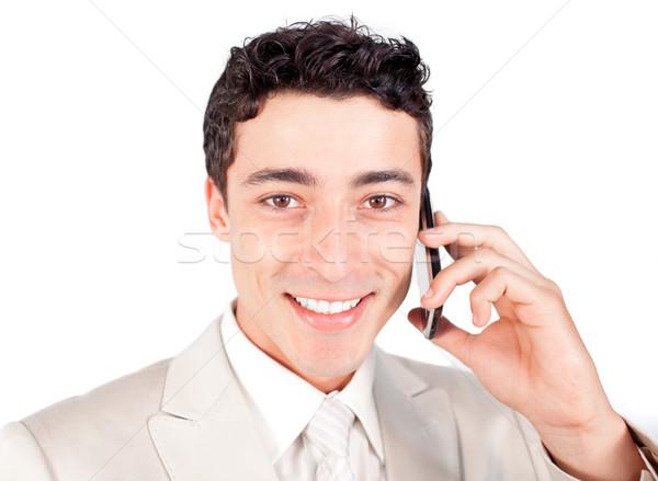 Atraente empresário falante telefone negócio sorrir Foto stock © wavebreak_media