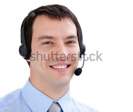 Portret biznesmen zestawu biały komputera Zdjęcia stock © wavebreak_media
