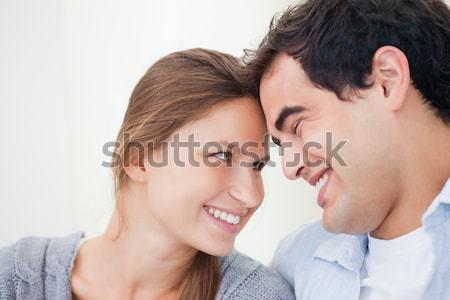 Boyfriend kissing his girlfriend in bed Stock photo © wavebreak_media