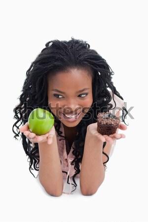 かわいい 若い女性 食べ リンゴ 白 髪 ストックフォト © wavebreak_media