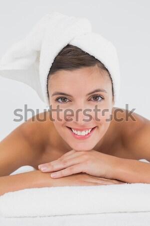 Encantado mulher sessão cama manhã Foto stock © wavebreak_media