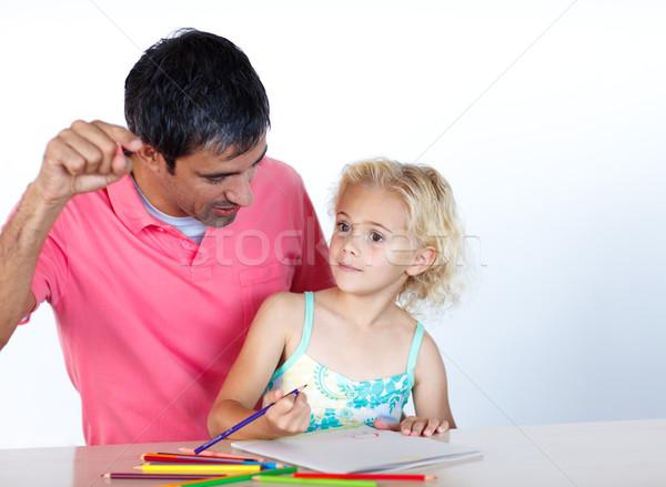 Tata córka praca domowa wraz domu biuro Zdjęcia stock © wavebreak_media