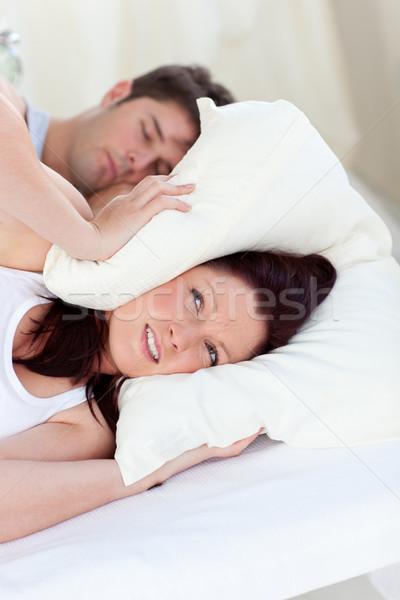 будущем мамы голову подушкой кровать Сток-фото © wavebreak_media
