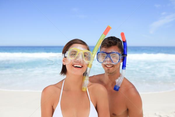 Casal máscara praia mulher homem biquíni Foto stock © wavebreak_media