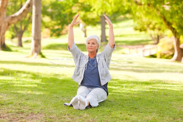 Senior woman doing her stretches in the park Stock photo © wavebreak_media