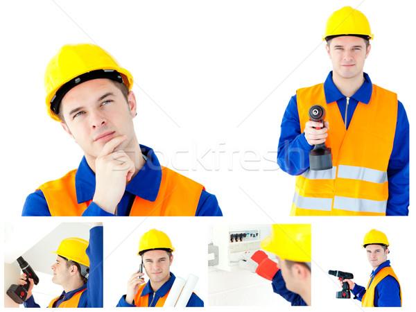 Colagem jovem negócio casa mão Foto stock © wavebreak_media